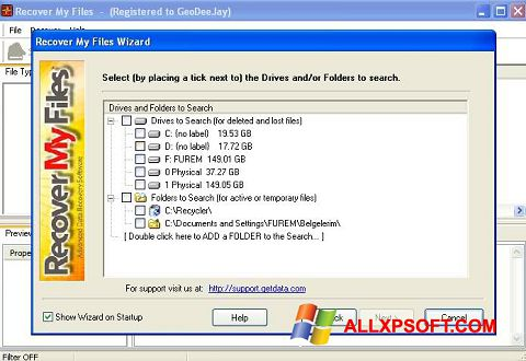 Снимак заслона Recover My Files Windows XP