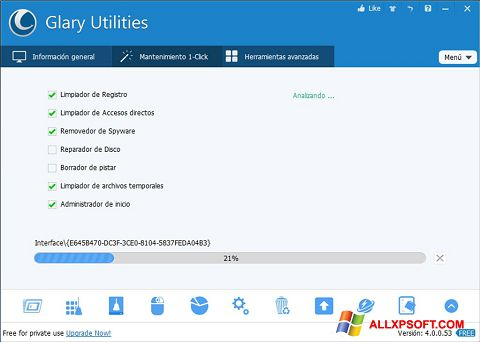 Снимак заслона Glary Utilities Windows XP