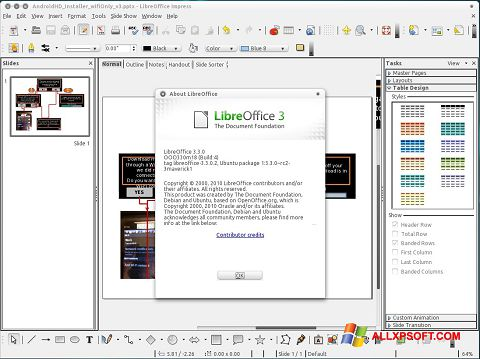 Снимак заслона LibreOffice Windows XP