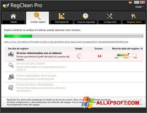 Снимак заслона RegClean Pro Windows XP