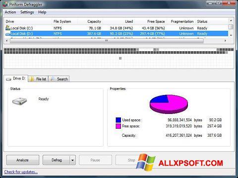 Снимак заслона Defraggler Windows XP