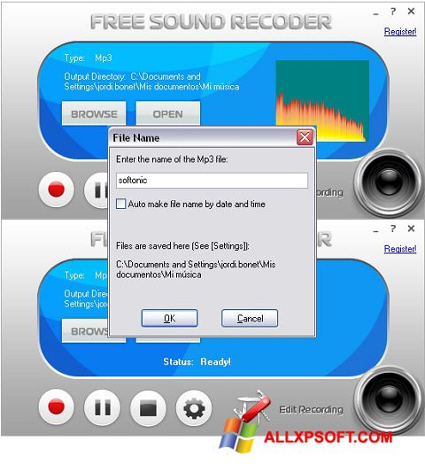 Снимак заслона Free Sound Recorder Windows XP