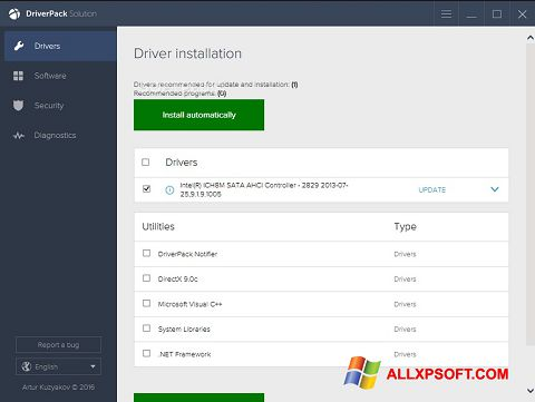 Снимак заслона DriverPack Solution Windows XP