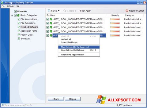 Снимак заслона Auslogics Registry Cleaner Windows XP