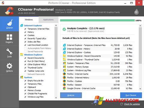 Снимак заслона CCleaner Windows XP
