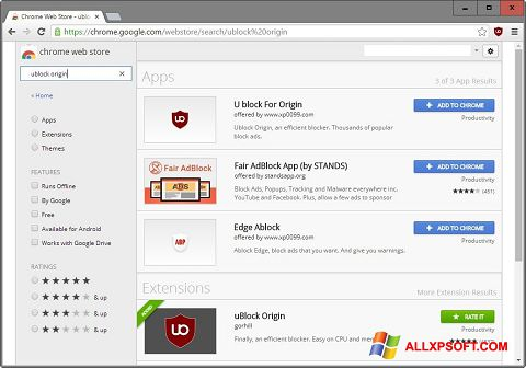 Снимак заслона uBlock Windows XP