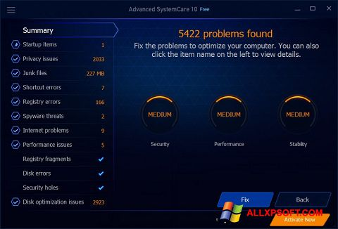 Снимак заслона Advanced SystemCare Free Windows XP