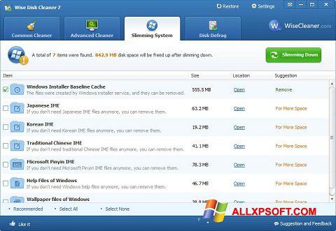 Снимак заслона Wise Disk Cleaner Windows XP