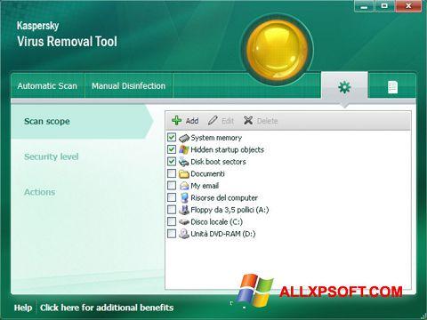 Снимак заслона Kaspersky Virus Removal Tool Windows XP