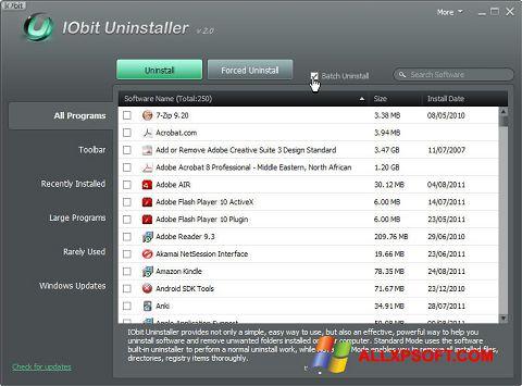 Снимак заслона IObit Uninstaller Windows XP