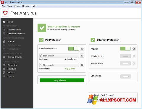 Снимак заслона Avira Free Antivirus Windows XP