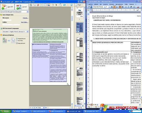 Снимак заслона ABBYY PDF Transformer Windows XP