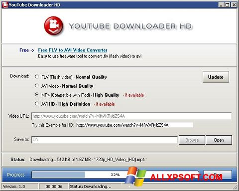 Снимак заслона Youtube Downloader HD Windows XP