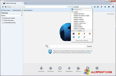 Снимак заслона Waterfox Windows XP