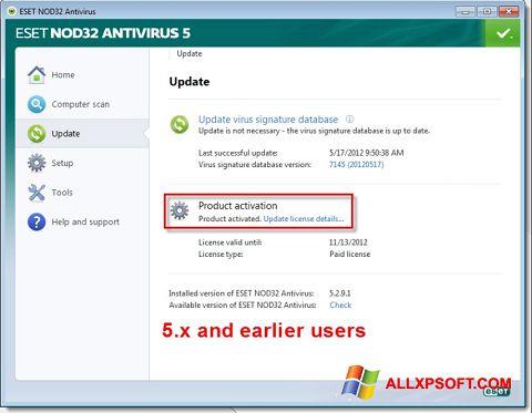 Снимак заслона ESET NOD32 Windows XP